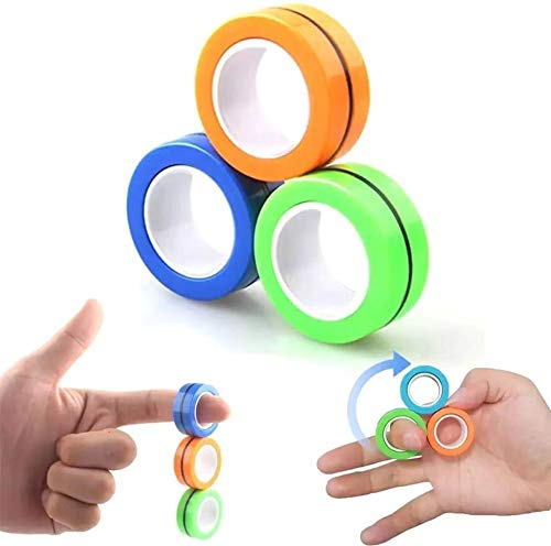 Decompression Magnetic Ring, Finger Spinner, Adult Decompression Anxiety and Irritability Relief Game, Magic Mini Finger Spin Gadget Ring, Interesting Novelty Gifts for Birthdays and Christmas 6PCS