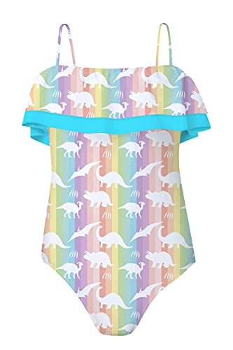 Girls Swimsuits Rainbow Unicorn Printed Bathing Suit One Piece Quick Dry Bikini Elastic Strap Halter Swimwear for Summer Vacation Water Park
