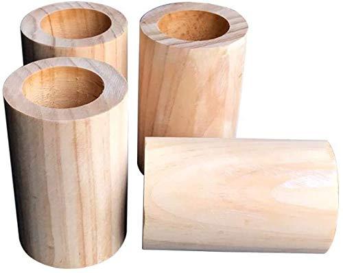 xmwm Möbelhöhe, Holz, Betterhöhung, Möbelerhöhung für Bett/Sofa/Stühle, Hubhöhe (10 cm), Rillen-Innendurchmesser (6,5 cm), 4er-Pack