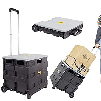 dbest products Quik Cart Collapsible Rolling Crate on Wheels for Teachers Tote Basket 80 lbs Capacity Made from Heavy Duty Plastic and used as a Seat Grey