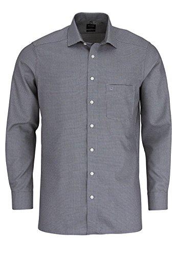 OLYMP Modern Fit Hemd extra langer Arm Patch Muster schwarz AL 69, Silber/Schwarz, XL (44)