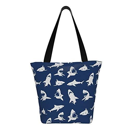 Teery-YY Bolsa de lona de color azul marino con diseño de tiburón, bolsa de hombro informal para mujer, bolsa de hombro, bolsa de viaje, reutilizable para viajes en la playa