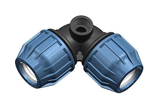 PN10 Elysee PP-Fittings 32mm Klemmkupplungen, Winkel, T-Stück, PE-Rohr, Reuduzierungen, Kupplung, Endstopfen, Trinkwasserzertifiziert, Größe: Winkel seitlichem IG 32 x 1/2