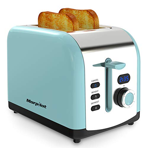 Morpilot Toaster Edelstahl Toaster mit Brötchenaufsatz, 2 Scheiben, Breite Schlitze, Led Anzeige, 6 Bräunungsstufen, Krümelschublade 800W Toaster Blau Retro Vintage