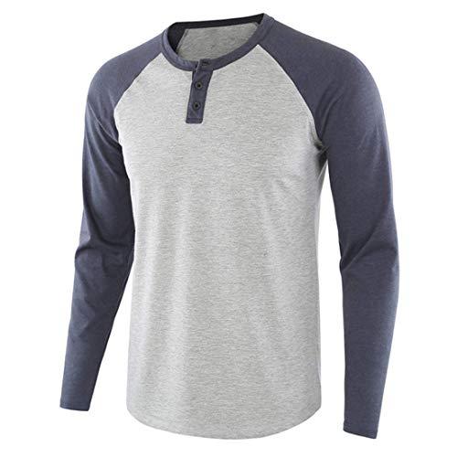 Herren T Shirt Hemd Mode Classics Patchwork Raglan Langarmshirt V-Ausschnitt Freizeit Button Down Rundhals Longsleeve Polohemd Regular Fit T Shirt Casual Frühling und Herbst Golf Herren Shirts XL