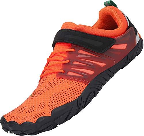 SAGUARO Zapatos de Playa de Suela Gruesa Lace Up Secado Rápido Zapato de Natación Hombre Mujer Cómodo Bajo Superior Zapatillas Descalzos Anfibio Barco Conducir Yoga Water Shoes, Trail Naranja 36