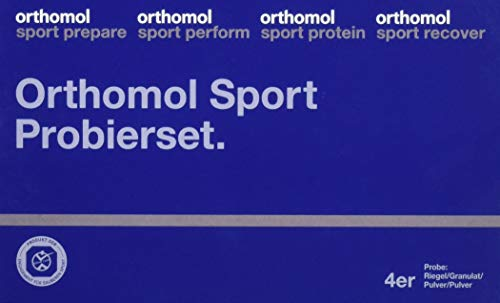 Orthomol Sport 4er Probierset - Vorbereitung, Leistung, Muskelaufbau, Protein & Regeneration - Nahrungsergänzungsmittel Shake, Mineralien & Riegel