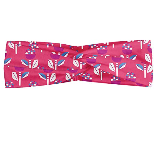 ABAKUHAUS Garderie Bandeau, Creative coloré Résumé botanique Fleurs, Serre-tête Féminin Élastique et Doux pour Sport et pour Usage Quotidien, Fuchsia