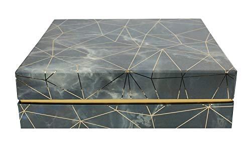 Emartbuy Caja de Regalo de Presentación de Lujo Rígida Cuadrada, 23.5 cm x 23.5 cm x 7 cm, Efecto de Mármol Azul/Gris Con Líneas Doradas de Origami y Interior a Cuadros Rosa