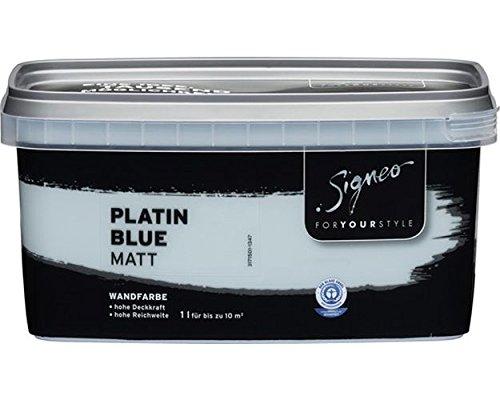 Signeo Bunte Wandfarbe, PLATIN BLUE, Hellblau, matt, elegant-matte Oberflächen, Innenfarbe, 1 Liter