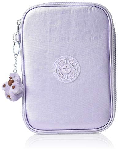 Kipling 100 Pens Pencil, Essential Everyday Case, Zip Closure, Frosted Lilac Metallic, One Size