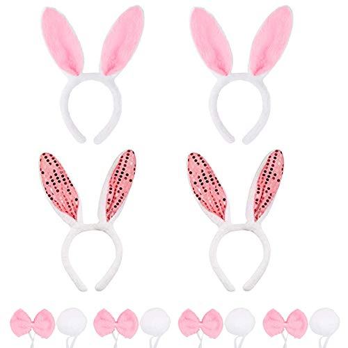Paquete de 4 Orejas de Conejo, Orejas de Conejo de Pascua, Diademas y Cola de Orejas de Conejo de Felpa, Aro de Pelo de Conejo, para Decoración de Disfraces de Fiesta de Pascua (Rosa)