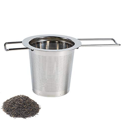 dgaf&bae Kaffeefilter Wiederverwendbar aus Edelstahl Handfilter Teesieb fur Tasse mit Doppel-Griff und Abtropfschale/Deckel für Kanne/Teekanne/Kaffeekanne/Töpfe(H01)