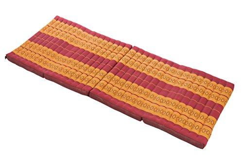 Handelsturm Kapok Matte, Thai Klappmatte ca. 200x80 cm, Thaimatte mit Füllung aus Kapok, Thaikissen Matratze Burgunder, Faltmatratze