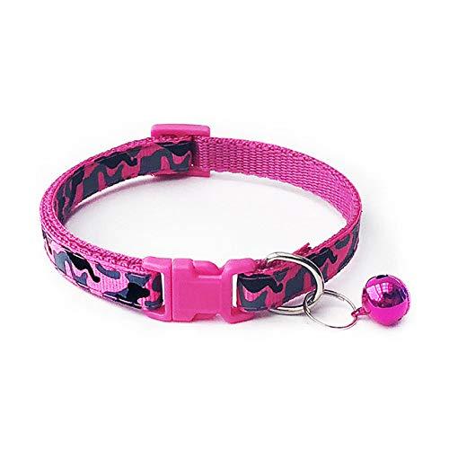 Ltong kattenhalsband metprintNekbandPolyester verstelbare gesp Kitten Puppy Hondenriem Animal Accessories, RoseRed