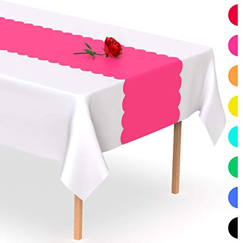 Hot Pink Scallop Disposable Table Runner. 5 Pack 14 x 108 inch. Adhesive Strips Secure The Plastic Table Runner. Add A Pop of Color To Your Party Table, by Swanoo
