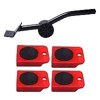 HUAJIEHENG worth having 家具リフターのリフターの移動スライダー5ピースモバイルツールセット、重い家具のための滑走レバーシステム、最大荷重150kg、赤 (Color : Red)