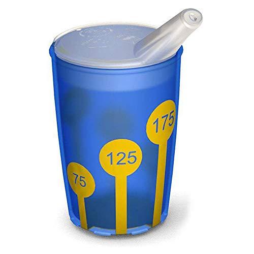 Ornamin Becher mit Anti-Rutsch Skala 220 ml blau/gelb und Schnabelaufsatz (Modell 820 + 806) / Schnabelbecher, Trinkbecher, Kinderbecher