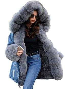 Aofur Plus Size Women s Long Hooded Parka Coat Warm Winter Overcoat Faux Fur Collar Qulited Jacket  XX-Large Denim Grey Fur