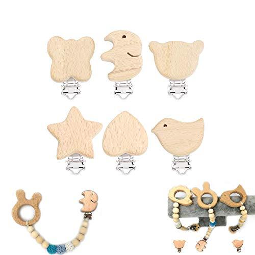 6 piezas Clip Madera para Chupete Envío Desde, Pinza de Pezón de Madera Natural, Patrón Lindo: Pájaros, Elefantes, Estrellas de Cinco Puntas, Amor, Osos, Mariposas - Apto para Recién Nacidos