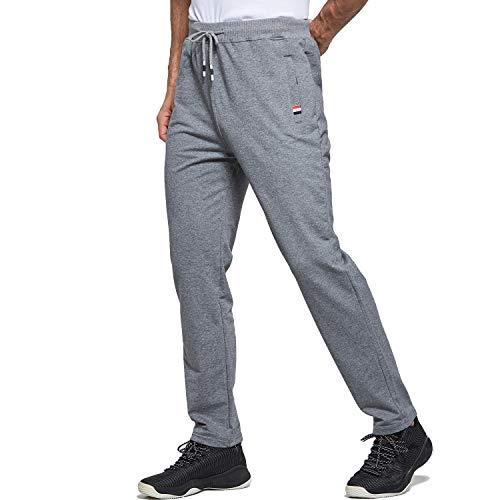 Tansozer Jogginghose Herren Baumwolle Sporthose Lang Ohne Bündchen mit reißverschluss Taschen Grau M