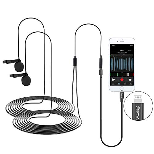 Dual Lavalier Lightning Microphone for iOS iPhone 11 Vlog, 20 ft/6m BOYA BY-M2D Dual-Head Lapel Universal Mic with Lightning Plug Adapter for iPhone 11 10 X 8 7 MAC YouTube Video Facebook Live