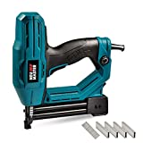 Electric Brad Nailer, NEU MASTER NTC0040 Electric Nail Gun/Staple Gun for Upholstery, Carpentry and Woodworking Projects, 1/4'' Narrow Crown Staples 400pcs and Nails 100pcs Included (Blue)