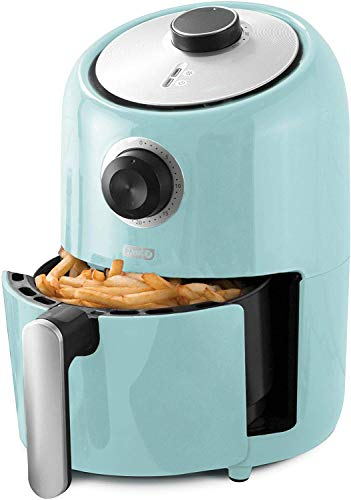 Dash DCAF150GBAQ02 Compact Air Fryer Oven Cooker with Temperature Control, Non Stick Fry Basket, Recipe Guide plus Auto Shut off Feature, 1.2 qt, Aqua