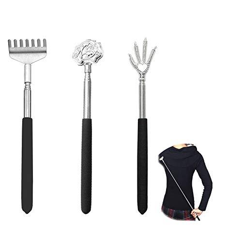孫の手,まごのて 伸びる まごの手 背中かき棒 ステンレス製 おしゃれ 携帯にも便利(黒い3枚入り)