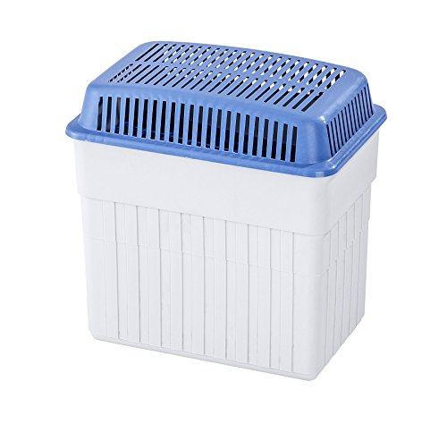 WENKO Feuchtigkeitskiller mit 2 kg Granulatblock, Raumentfeuchter, fasst bis zu 2,8 l Feuchtigkeit, laborgeprüft, nachfüllbar, reduziert Schimmel und Gerüche, Maße (BHT): 23x24x15,5 cm, grau-blau