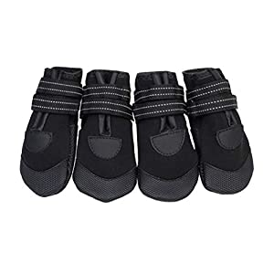 POPETPOP 4Pcs Bottes Antidérapantes pour Chiens, Chaussures Chaudes pour Animaux de Compagnie, Protecteur de Patte Imperméable Hiver pour Marche ou Randonnée (Noir)