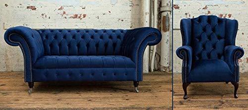 JVmoebel Designer Sofa Chesterfield 2 Sitzer Couch + Ohrensessel Relax Lehn Polster Sofas