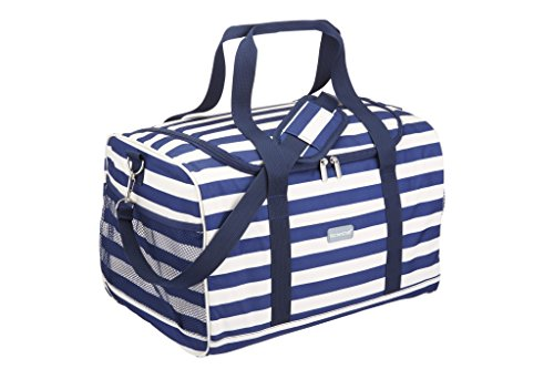 KitchenCraft We Love Summer Extra-Large Nautical-Striped Family Cool Bag, 30 L (6.5 gal) - Navy Blue/White