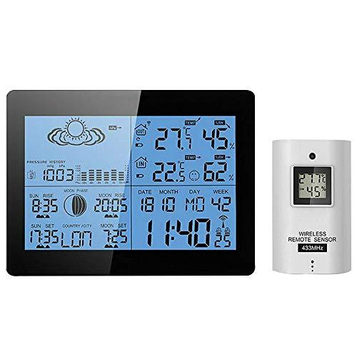 Pevolgen Digital Weather Station with Radio Controlled Clock, Indoor Outdoor Temperature Humidity, Sunrise, Sunset, Moonrise, Moonset Times, Barometric Pressure