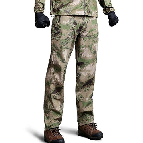 Tactical Soft Shell Waterproof Camouflage Pants Men Thermal Military Army Pants Casual Warm Fleece Trousers Green Camo XXL