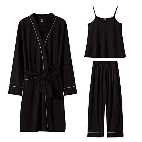 Gbrand Conjunto de Pijama para Mujer, Conjuntos de Bata para Mujer, camisón, Pantalones Largos, 3 uds, Pijama Estampado, Ropa de Dormir de algodón, Ropa de Dormir, Ropa de Dormir-L_50-60Kg