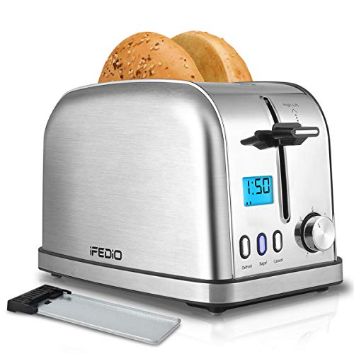 Toaster 2 Slice Best Rated Prime,Toasters Stainless Steel with LCD Display, Extra Wide Slots 2 slice toasters with 7 Bread Settings, Bagel/Defrost/Cancel Function,Removable Crumb Tray, 900W, Silver