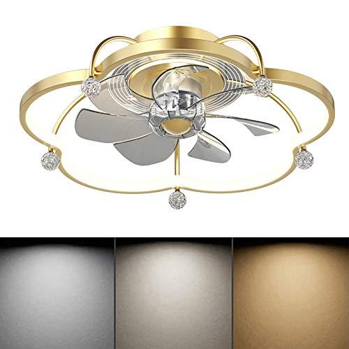 WOERD Ventilador De Techo LED con Lámpara Moderno Luz Velocidad del Viento Ajustable Control Remoto Ultra Silencioso Ventilador De Candelabros Luces De Ventilador De Dormitorio