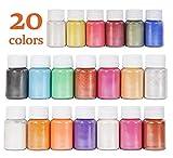 DEWEL 20er×10g Epoxidharz Farbe, Mica Metallic Pulver Seifenfarbe Set Resin Gießharz Pigmentpulver...