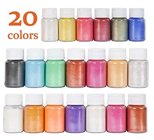 DEWEL 20er×10g Epoxidharz Farbe, Mica Metallic Pulver Seifenfarbe Set Resin Gießharz Pigmentpulver Farbpigmente für Epoxidharz Schmuck Seife DIY