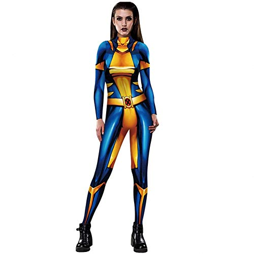 WSJ Halloween Kostüme für Damen, Damen X-Men 3D Digital Print Eng anliegender Kostüm Body mit Rückendruck - Sexy Kostüm Jumpsuit Female,XL