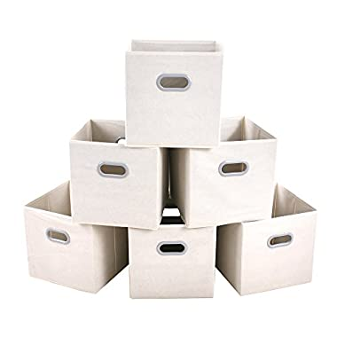 MAXhouser Fabric Storage Bins Cubes Baskets Containers with Dual Plastic Handles for Home Closet Bedroom Drawers Organizers, Flodable, Beige, Set of 6