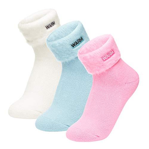 Homealexa 3 Paar Kuschelsocken Stricksocken mit Innenfrottee, für damen & herren Winter Socken Thermosocken, knöchelhoch Winter Socken (Hellblau-Rose-Weiß)