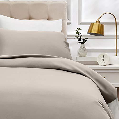 AmazonBasics - Bettwäsche-Set, Fadendichte 400, Baumwollsatin, 135 x 200 cm und einem Kissenbezug, 50 x 80 cm, Steingrau