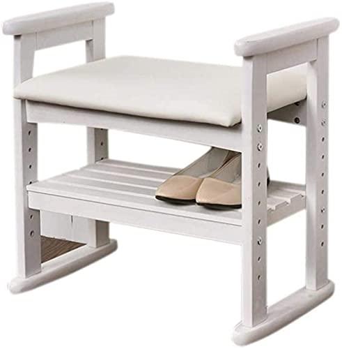 N/Z Equipo para el hogar Banco de Zapatos de Madera Maciza Zapatos Sofá Taburete Taburete de Almacenamiento Estante para Zapatos Taburete para Cambiar Zapatos (Color: Blanco Tamaño: 53 * 33 * 51CM)