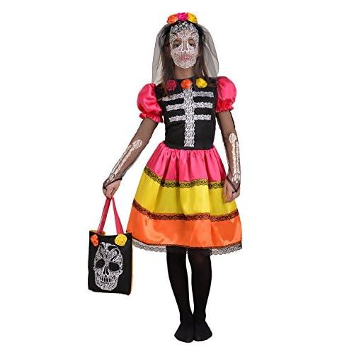 Ciao - Skull Flower Girl Costume con Velo e Borsetta per Bambini, Multicolore, 5-7 anni, 13026.5-7