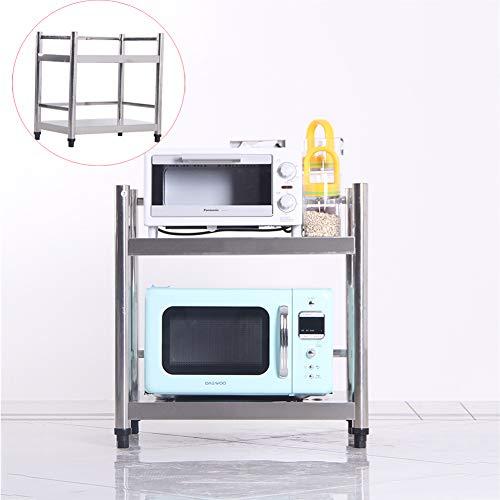 Lhh 2 Tier Storage Rack - Edelstahl Mikrowelle Regal - Kitchen-Abstellflächen - Rack-Spice mit Reling, für Home Restaurant