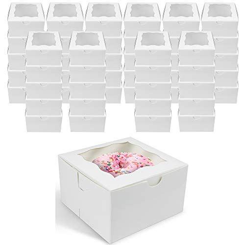 of aerwo party favors dec 2021 theres one clear winner [50 Pack] O'Creme Small Bakery Cake Boxes With Window, 4x4x2.5, Cupcakes Donuts Cookies Pastries, For Wedding Treats Party Favors Showers Gift, White Paper Kraft Cardboard Mini Packaging Containers
