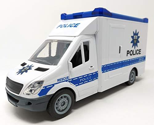 Polizeiauto Mannschaftswagen Auto Spielzeug, Spielzeugauto mit Blaulicht und Sound, 27 cm