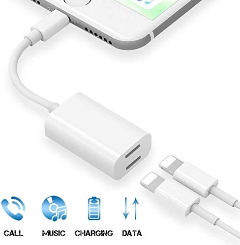 [Apple MFi Certified]iPhone Headphone Adapter, Charger and Headphones Splitter Dongle ,Dual lightning Adapter Splitter Headphone 2 in 1 Audio Charger for iPhone 11 /XS/XR/X /8/7 Support iOS 10.3 above